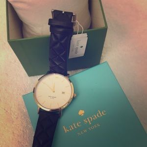 Kate Spade quilted leather band two tone watch